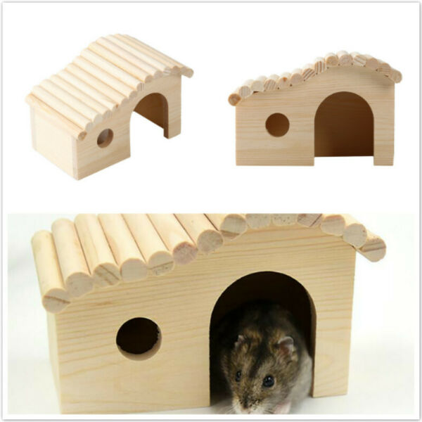 Creative Small Animal House Natural Wooden Nest Hamster Nest HomeD