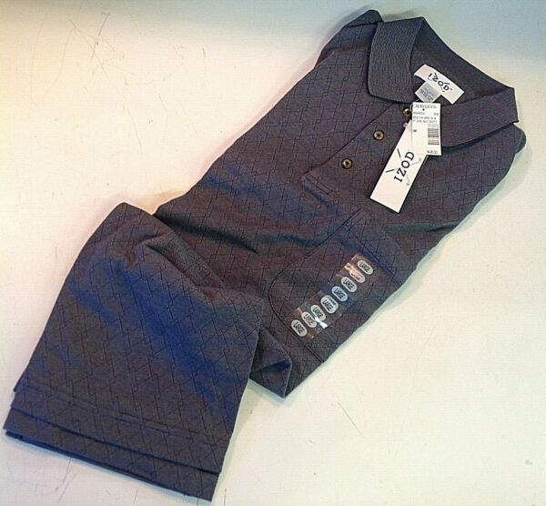 Vintage New With Tags IZOD Grey Polo Collared Golf Shirt Mens Large Botanical