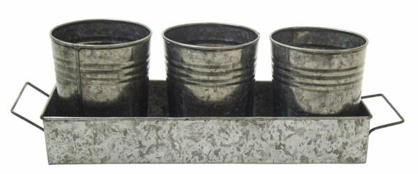 Galvanized Metal Garden Pots with Tray Set of 4 - Bucket Planter Pail - Flower P