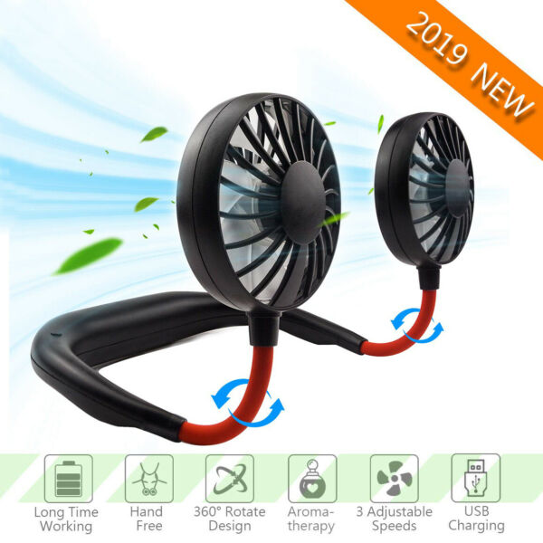 Portable USB Sports Fan Rechargeable Neckband Neck Hanging Dual Cooling Mini Fan