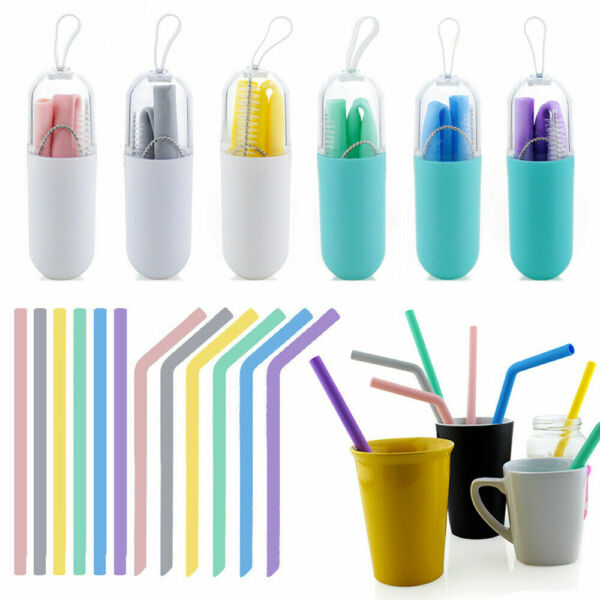 US Reusable Silicone Drinking Straws Food Grade Straw with Cleaning Brushes Set