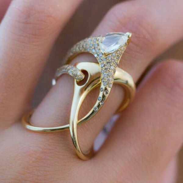 Creative 18k Yellow Gold Plated Rings for Women Jewelry White Sapphire Size 6-10