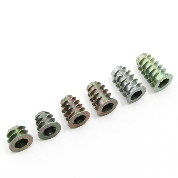 14 516 38 Zinc Alloy Furniture Hex Drive Head Nut Screw Threaded Wood Inserts