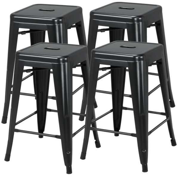 24'' Metal Bar stools Set of 4 Backless Stackable Counter Height Kitchen Black