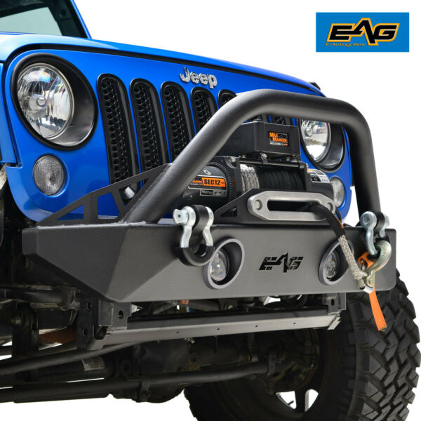 EAG Stubby Front Bumper W LED Lights & Winch Plate Fit 07-18 Jeep Wrangler JK