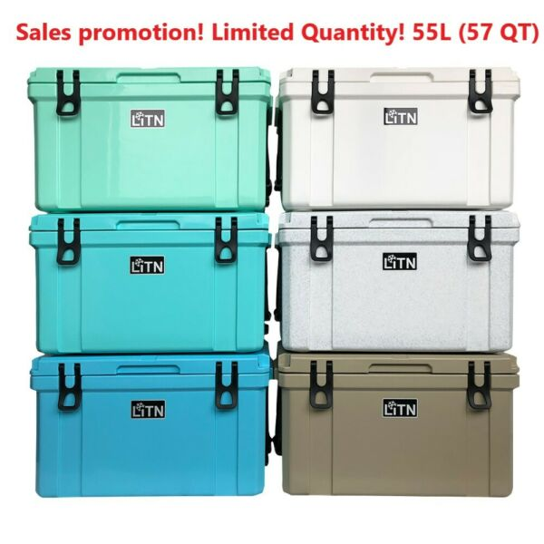 55 Quart High Performance Cooler Grey ice chest Caming RotoMolded series