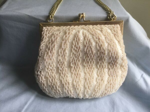 Vintage MAGID White Beaded Evening Clutch Bag - Frame Closure & Gold Chain Strap