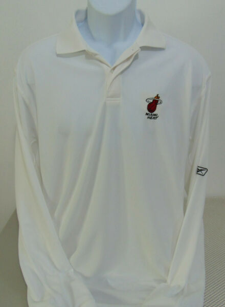 NBA Miami Heat White Reebok Long Sleeve Polo Golf Shirt Mens Large $24.95