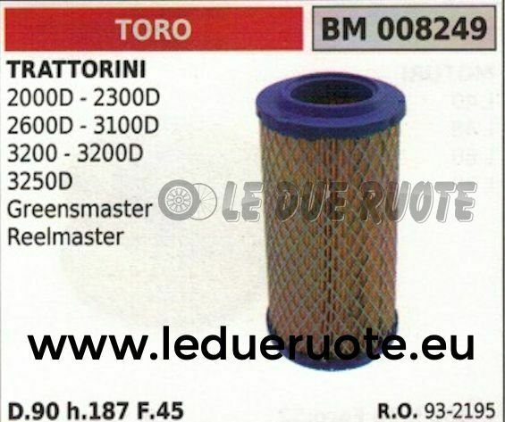 932195 Air Filter Complete Mower Lawn Mower Toro 2000D 2300D 2600D 90x187