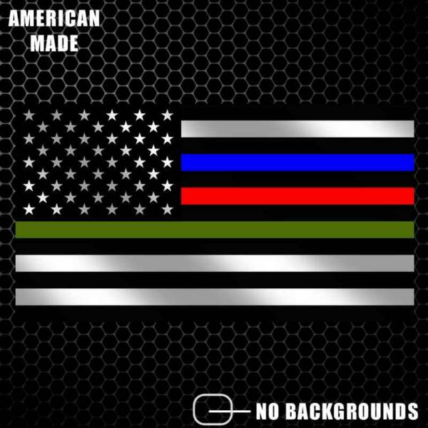 Thin Blue Line Police Firefighter Military Flag Decal Sticker American USA Pride $4.99