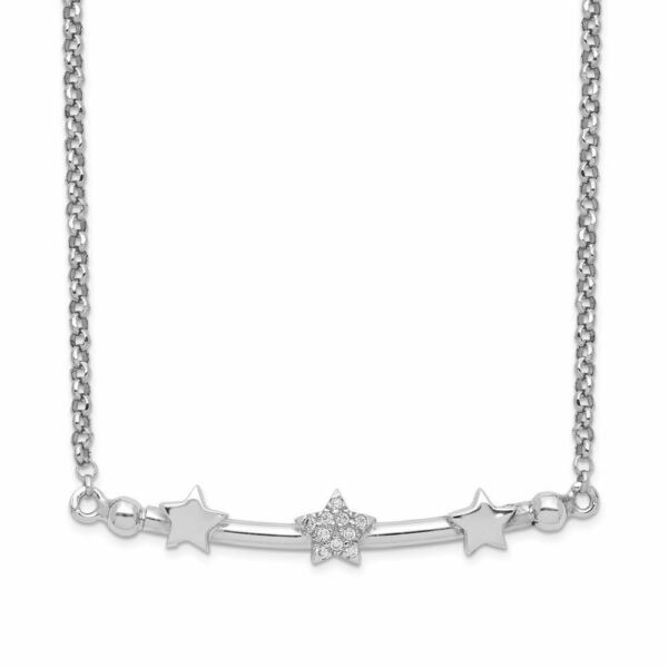 Sterling Silver CZ 3-Star Bar With 1.5