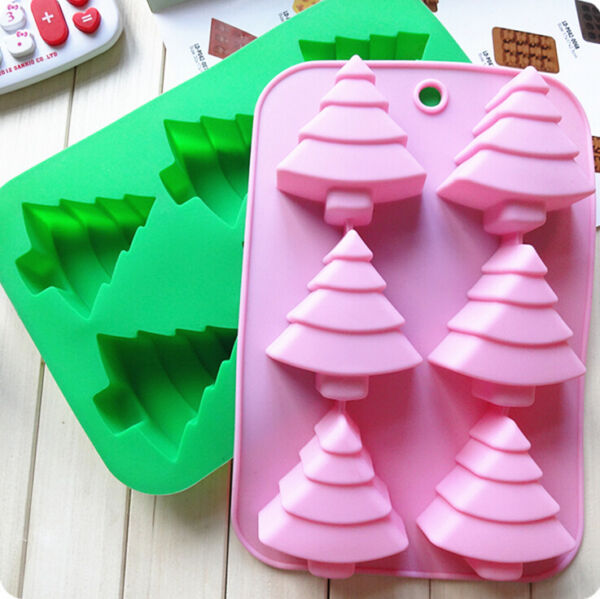 6-Christmas tree Silicone Ice Cube Chocolate Cake Cookie Cupcake Soap Mold Mould