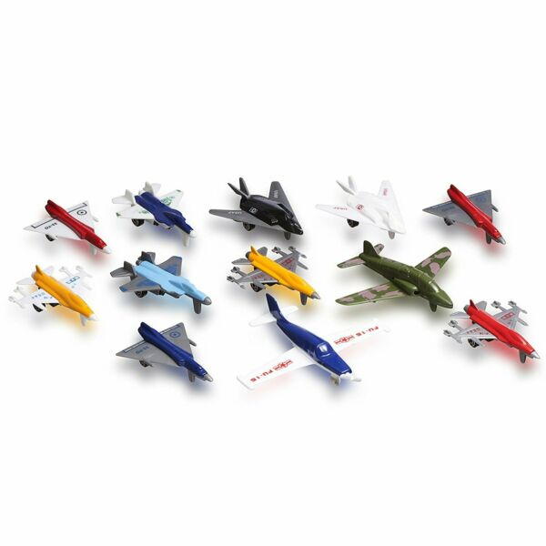 Metal Plastic Die Cast Toy Airplane Set Of 12 Planes And Jets Great For Kids