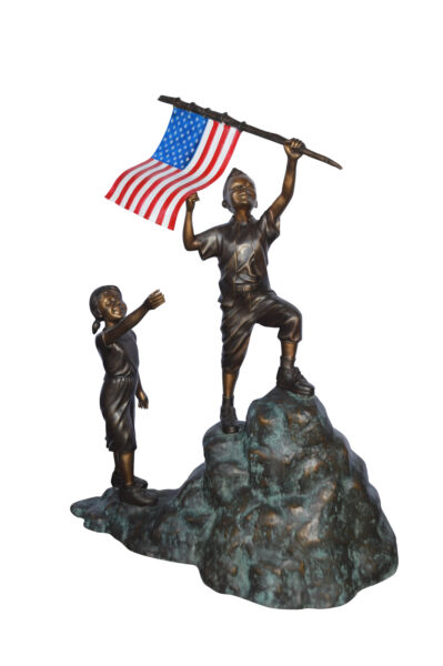 Two Kids on Rock W the American Flag Bronze Statue -  Size: 50
