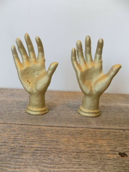 2 Cast Iron Gold Hands Ring Holder Jewelry Display Home Decor Paper Weight Book