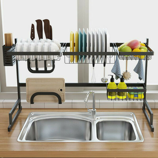 Over The Sink Dish Drying Rack Shelf Stainless Steel Kitchen Cutlery Holder 34in
