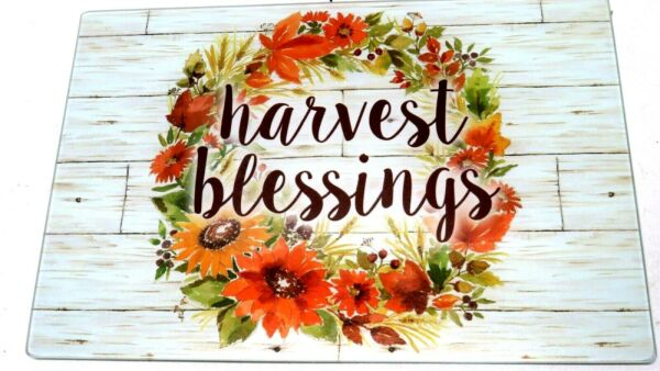 Fall Glass Cutting Board Harvest Blessings Autumn Flowers Leaves Wreath