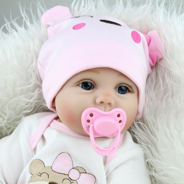 22'' Handmade Silicone Vinyl Reborn Baby Doll Realistic Newborn Girl Kids Toys