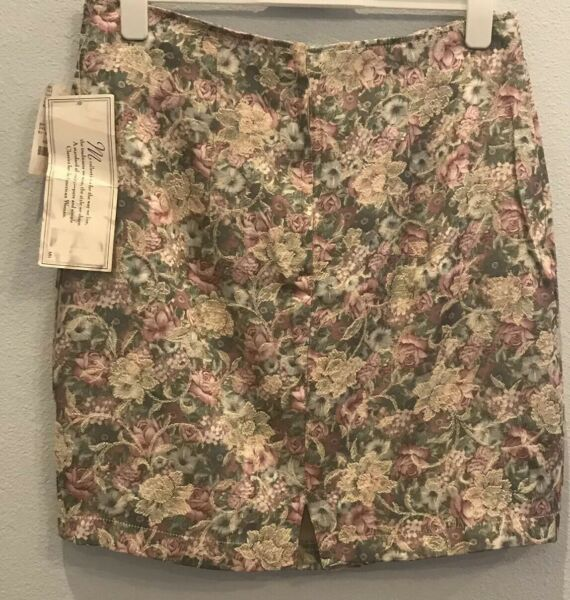New VINTAGE Maggie Lawrence SKIRT WITH Cabbage ROSE PRINT Size 16 Pink