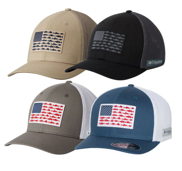 Columbia PFG Fish Flag Flexfit Ball Cap Fitted Hat 183681 -Choose Size and color