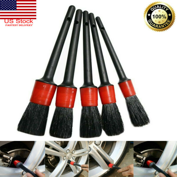 5pcs Natural Boar Hair Brush Car Automotive Wheels Detailing Cleaning Detail Set