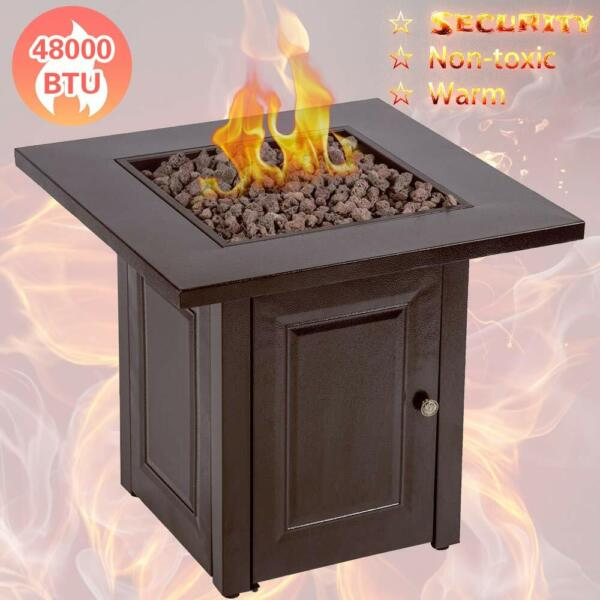 Propane Fire Pit Table Patio Heater Outdoor Gas Table Fireplace 48000BTU Bronzn