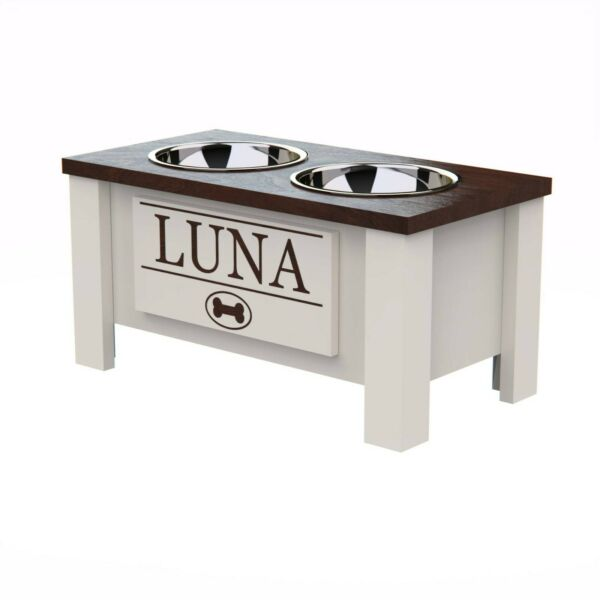 Personalized Raised Dog Bowl Stand with Internal Storage $65.00