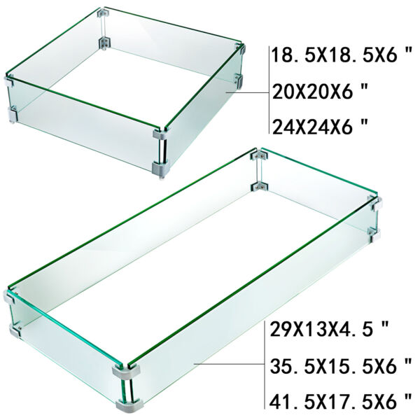 Outdoor Fire Pit Wind Guard Tempered Glass Flame Guard Rectangle Square Clear