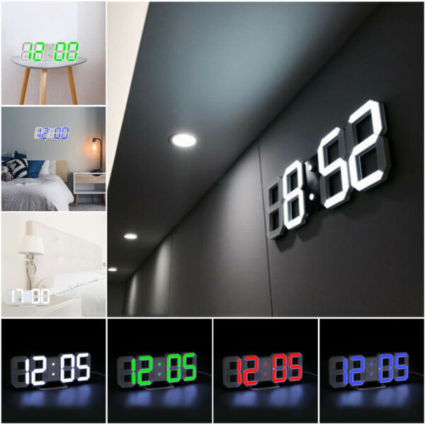 Digital 3D LED Big Wall Desk Alarm Clock Snooze 1224 Hours Auto Brightness USB