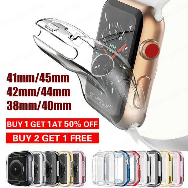 For iWatch Apple Watch 2 3 4 5 6 SE Protector Full Cover TPU Case 38 40 42 44mm