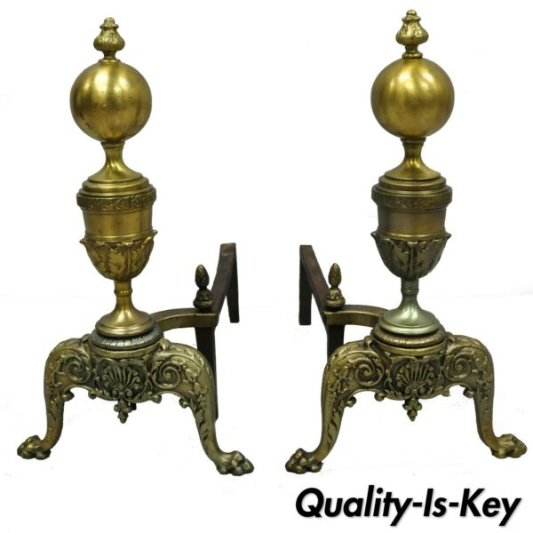 Pair Vintage Brass French Empire Style Cannonball Paw Foot Fireplace Andirons