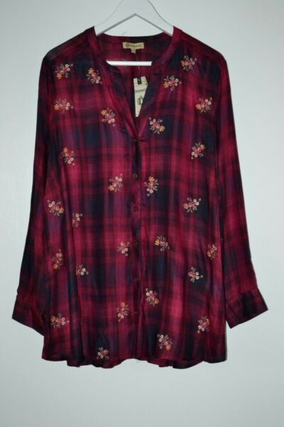 $84 Democracy Plaid Floral Embroidered Chic Shirt Tunic Rayon Plus Size 1X