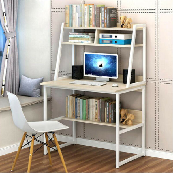 solid wood Computer Desk Printer Laptop Table with 3 Shelves Study Home Office