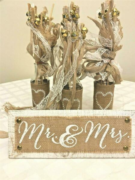 WEDDING BURLAP LACE RIBBONED WANDS IN DECORATIVE BOTTLES NEW CEREMONY RECEPTION