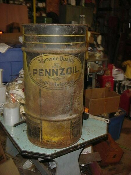 VINTAGE METAL 15 GAL PENNZOIL MOTOR OIL CAN BUCKET PAIL DRUM GREAT FOR TRASH CAN