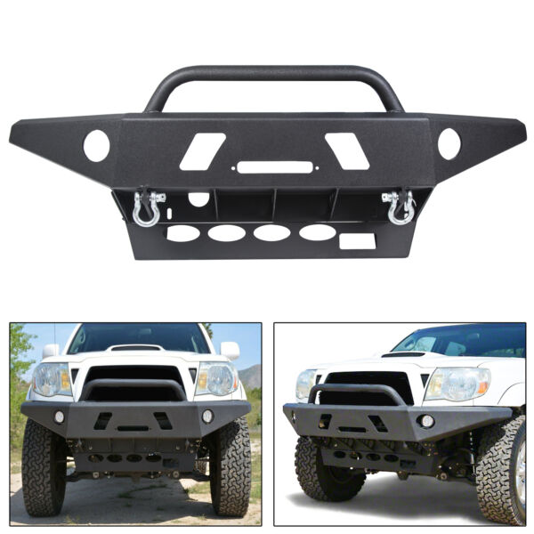 PICK UP ONLY Front Winch Ready LED Off road Steel Bumper For Toyota Tacoma 05-15