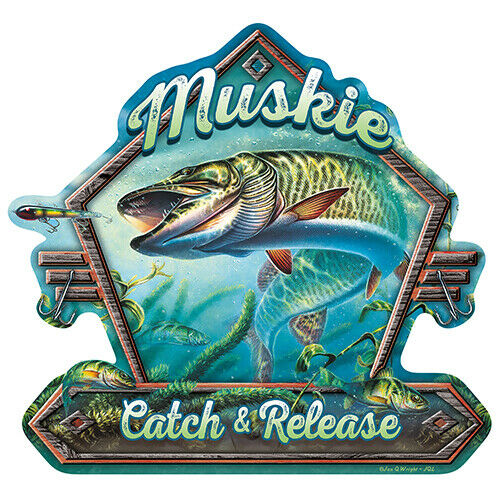 Muskie Catch And Release Novelty Sign Funny Home Décor Garage Wall Gag Gift $14.98
