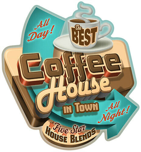 Best Coffee In Town Novelty Sign Funny Home Décor Garage Wall Plastic Gag Gif