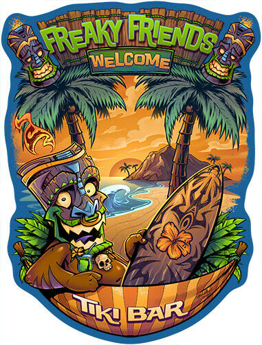 Freaky Friends Tiki Bar Novelty Sign Funny Home Décor Garage Wall Plastic Gag $12.98
