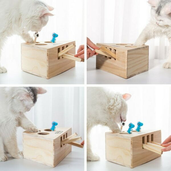 Pet Toy Cute Funny Wooden Cat Hunt Toy Interactive 35-Holed Mouse Scratch