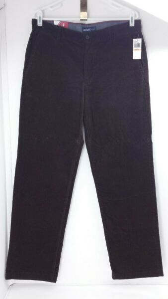 Izod Brown Straight Fit Flat Front Tailgate Couderouy Slacks. Size 33 X 32.