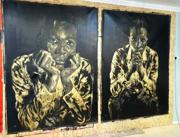 Shai-Yossef-large-oil-painting-wall-art-special-portrait african black man GOLD