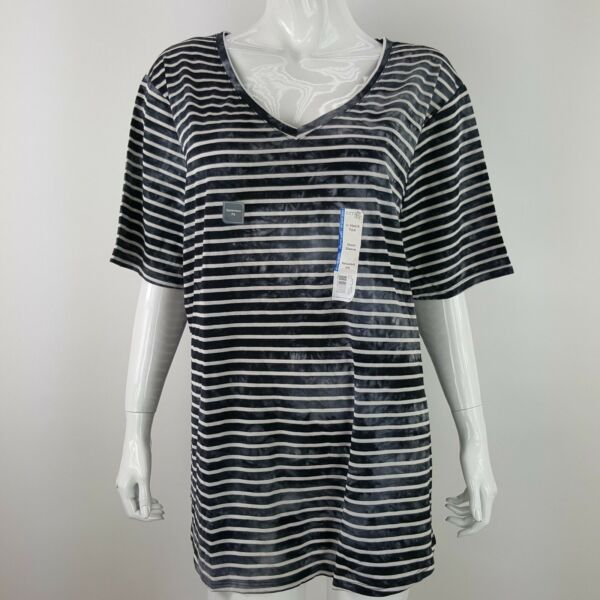 Terra & Sky Womens Plus 2X Black Striped V-Neck Short Sleeve Tee Relaxed Fit NWT