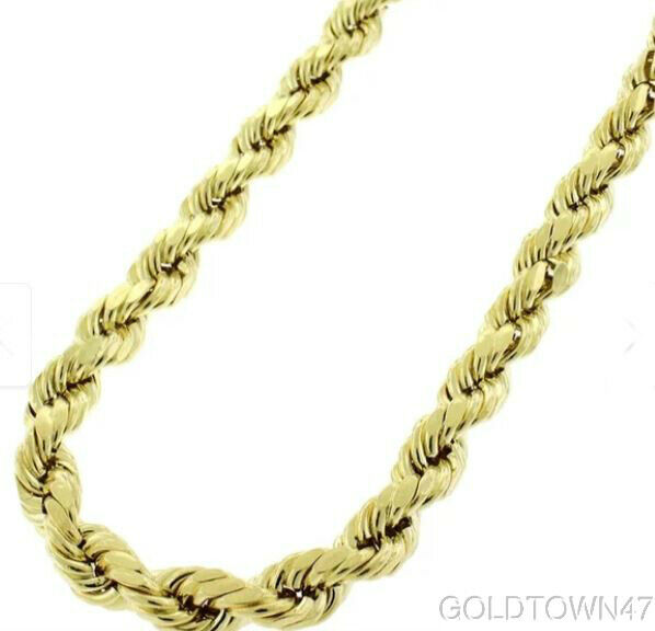 Men's Rope Chain In 14k Yellow Gold 5.5mm Diamond Cut Hollow Twisted Rope