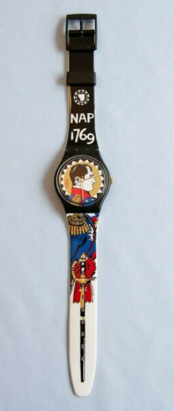 Circa 1994 Napoleon Swatch Watch in Box France Waterloo