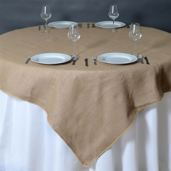 6 x Natural BURLAP 72x72quot; TABLE OVERLAYS Rustic Wedding Party Catering Reception
