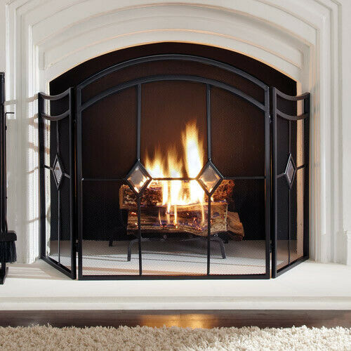 3 Panel Fireplace Screen Arched Diamond Steel Heavy Duty Gate Glass Accents