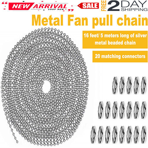 16Ft Metal Fan pull Chain Extension Ceiling Fan Chain Roller Connectors Original