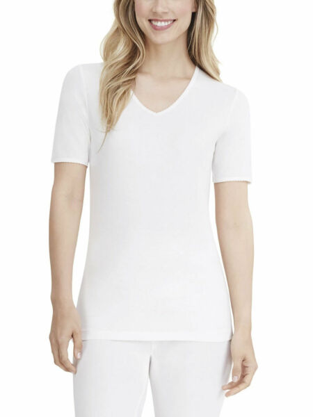 Cuddl Duds Women's SoftWear Lace Edge Smart Layer V-Neck Short Sleeve Top