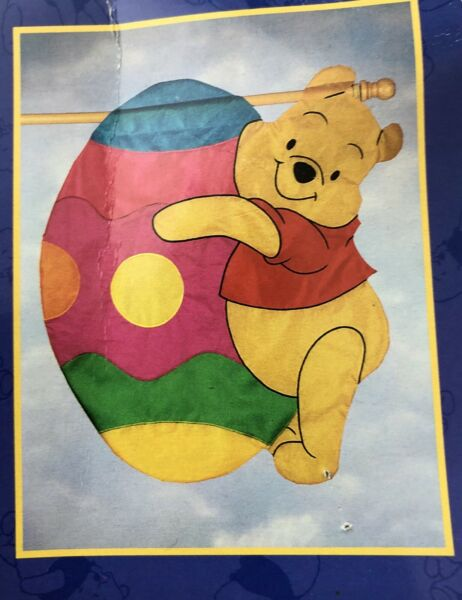 Windsculpts Large House Flag~Easter Egg Pooh~NIP~high Quality Nylon Embroidered